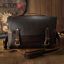 AETOO Handmade leather Cambridge Baotou cowhide retro handbag shoulder bag mad horse leather messenger bag postman(China)