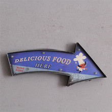 "Vintage ""DELICIOUS FOOD"" Wall Decorations Bar/Restaurant Advertising Painting Neon LED Sign Metal Signs Mural Decor Europe Style"