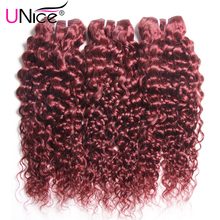 UNice 6A Brazilian Virgin Hair Human Hair Bundles Brazilian Afro Kinky Curly Virgin Hair #99J Curly Brazilian Hair Extensions