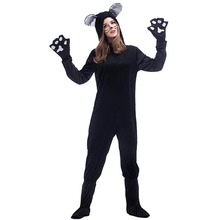 Black Bear Costume Adult Plush Teddy Bear Hooded Jumpsuit Fleece Unisex Animal Onesies Fancy Dress Halloween Party Costumes