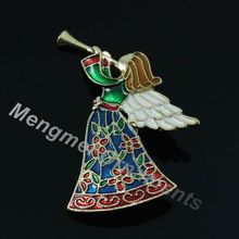 10pcs New Arrival Pewter Enamelled Trumpet Angle Wing brooch as Christmas brooch gift