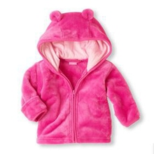 2017 winter new baby coral Fleece Hooded Jacket infant super cute cartoon shape solid color warm Hoodie 3 color free shipping(China)