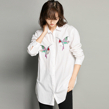 2017 Spring Women Embroidered Hummingbird White Blouse Ol Fashion Office Shirt High Quality Asymmetric Length Tops For 4 Season