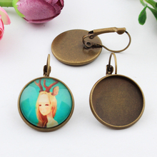 10pcs 20mm Copper Brass Antique Bronze French Earring Setting Base Earring Findings Cabochon Setting 2015 New Free Shipping(China)
