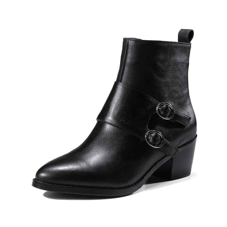 2017 New ladies high quality lined warm winter shoes woman genuine leather thick high heels pointed toe boots Pritivimin FN133