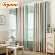 Blue yellow brown striped jacquard art modern fancy cotton linen curtain cloth and voile tulle living room bedroom WP391 *30(China)