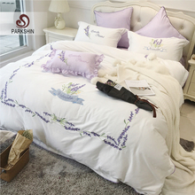 ParkShin French Lavender Bedding Set 60 Tatin satin embroidery Duvet Cover Set 100% Cotton Bed Set With Flat Sheet 4Pcs or 6pc