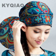 KYQIAO Mexican style spring and autumn ethnic vintage embroidery flowers bandanas original black red blue print hat cat