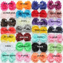 60pcs/lot chic frayed chiffon  shabby flower Rosette trim in stock 28 solid colors
