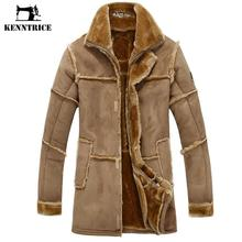 KENNTRICE Trench Coat Men Suede Jacket Patchwork Leather Jackets Men Faux Fur Coat Luxury Thick Warm Long Suede Jacket(China)