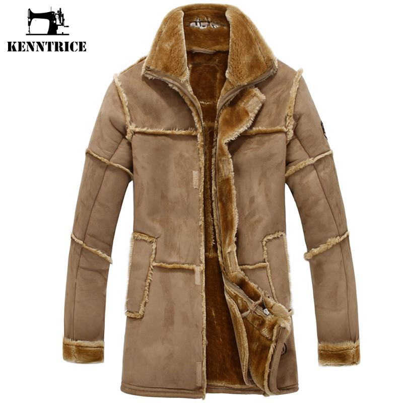 Kenntrice Patchwork Leather Jackets Men Faux Fur Coat Fleece Coat Military Leather Jacket Luxury Thick Warm Long Suede Jacket