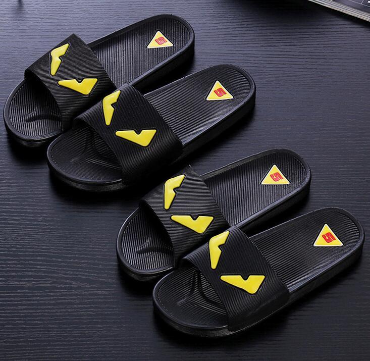 New lovers household slippers slip female little monster bathing sandals and slippers home skid plastic bathroom slippers<br><br>Aliexpress