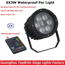 Free Shipping 2Pack Outdoor Par Lights 6X3W RGB Full Color Waterproof Led Par Cans For Party Wedding Christmas Decorations