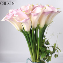 Big Size Real Touch PU Calla lily Artificial Flower Hand Feel Flores Artificiais For Wedding Decoration Home Party decor fleurs