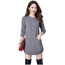 MOSHU Women Knitted Sweaters Dress Winter Sweater Pullovers Female Casual Long Sweater Vestidos(China)