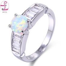 ZHE FAN Created Fire Opals Rings For Women Brand Jewelry Fashion Wedding Engagement Gift Little Star Ring White Blue Pink Brown