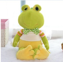 creative new lovely plush frogs toy soft cute frog doll with bow bitthday gift about 50cm green