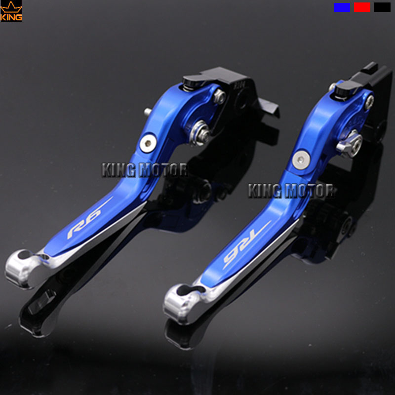 For YAMAHA YZF R6 YZF-R6 2015-2017 Motorcycle Accessories Folding Extendable Brake Clutch Levers Blue<br><br>Aliexpress
