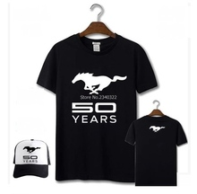 black white colours Ford Mustang logo 4S shop cars printed short-sleeved T-shirt  short sleeve T shirt include service cap