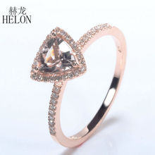 HELON Trillion Shape 6x6mm 0.7ct Morganite Solid 10k Rose Gold Engagement Natural Diamond Fine Jewelry Ring Halo Setting