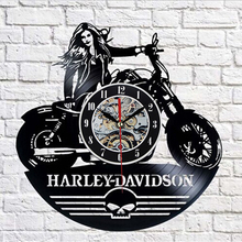 2017 Cool Design CD Vinyl Record Wall Clock Modern Harley-dayidson Theme Art Watch Classic Clock Relogio Parede(China)