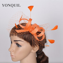 Orange or 21 Colors fancy feather sinamay women hats wedding fascinator with veisl decor on hair clips charming headdress FS28(China)