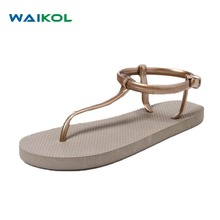 Waikol Roman Summer Flat Sandals For Women Bohemia Sandals Black Apricot Sweet Ladies Fashon Shoes(China)