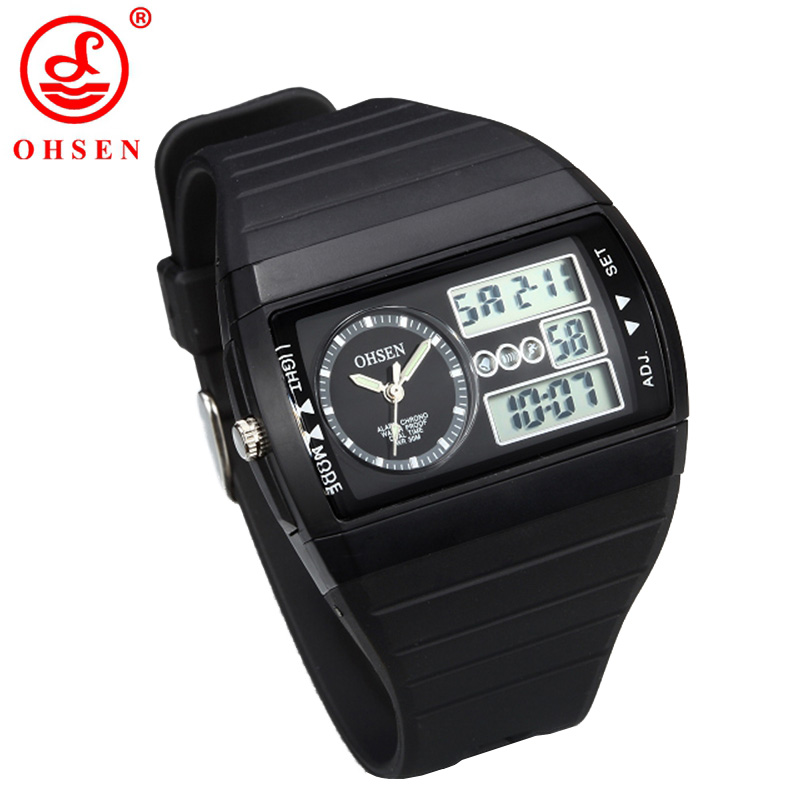 OHSEN Brand Digital Sports Men Watches Waterproof Black Silicone Band Wristwatch Popular Military Watch for Gift AS69<br><br>Aliexpress