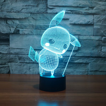 3227 3D Pikachu style 3 LED Lamp Atmosphere lamp 7 Color Changing Visual illusion Decor - Gleagle Hobby Store store