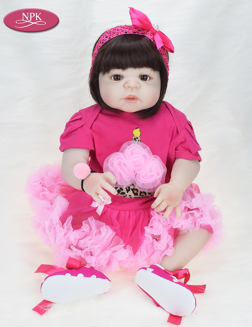NPK 57CM Full Body Soft Silicone Girls Reborn Baby Doll Bathe Toys Lifelike Princess Girl Dolls Bebe Real Reborn Boneca Menina  (3)