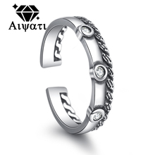 Twist of Dough Design Thailand Silver Jewelry Rings Cubic Zircon 925 Silver Ring Women