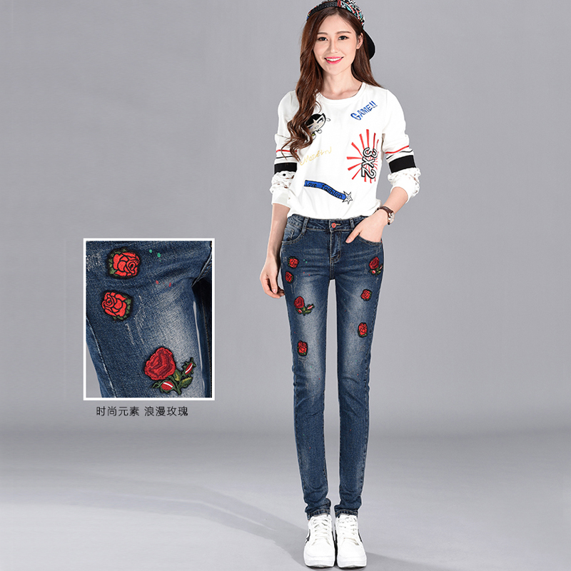 Spring jeans version of embroidery softened jeans women trousers feet pants wild was thin art students rose pencil jeansОдежда и ак�е��уары<br><br><br>Aliexpress