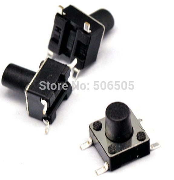 Free shipping 6X6X8mm 4pin SMT Tactile Tact Mini Push Button Switch Micro Switch Momentary 100pcs/lot<br><br>Aliexpress