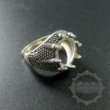 13mm setting size dragon claw round bezel tray 925 sterling silver ring setting DIY jewelry supplies 1213031(China)