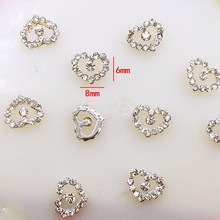 10Pcs/Pack 6*8mm Heart with Rhinestone Metal Alloy Nail Art Decorations Nail Charms/decos Nail Supplier Jewelry(China)