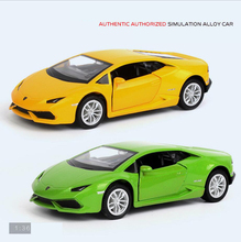 Hot 1:36 scale wheels world famous bull logo brand diecast super sport car Huracans metal model pull back alloy toys collection(China)