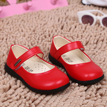 new fashion 2016 children kids dress girl princess red leather shoe spring autumn size 21~36 for 3~14 year(China)
