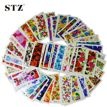 50pcs Hot  New Flower Manicure Tools Nail Art Water Stickers DIY Full Tips Decals Decorations Stamping XF1372-1421 STZ086-133