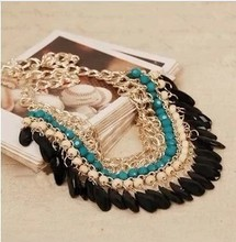 XL333 Wholesale Bohemian Tassels Drop Vintage  Choker Chain Neon Bib nice Necklaces & Pendants Fashion Jewelry