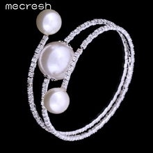 Mecresh Rhinestones Perfect Simulated Pearl Jewelry Bridal Wedding Accessories Women Party Bangles Bracelets SL105