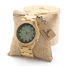 BOBO BIRD Men's Top Brand Design Green Wood Dial Watch with Full Bamboo Wooden Bands in Round Box