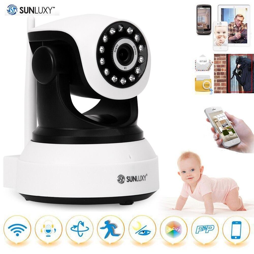 US Stock SUNLUXY 720P Wireless IP Camera H.264 PTZ P2P Babycam IR-cut Night Vision Video Audio Onvif Indoor Surveillance Camera<br>