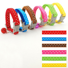 Brand New Fashion Nylon Dot Printed Pet Dog Collar Puppy Cat  Necklace with Bell