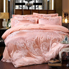 Jacquard + embroidery bedding set 4pcs bed linens luxurious bedclothes queen size bedspread duvet cover set bed sheet pillowcase(China)