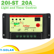 20A Solar Panel Battery Charge Controller 12V 24V Light and Timer Control PWM Solar Collector With Max 500W Solar Panel Y-SOLAR