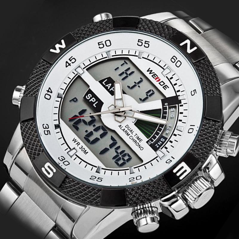 2017 Luxury Brand WEIDE Men Army Military Watch Mens Quartz Hour LED Digital Clock Full Steel Wrist Watch Men Sports Watches<br><br>Aliexpress