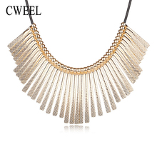 CWEEL Jewelry Women Fashion Imitated Crystal Pendants Necklaces Chokers Wedding Statement Maxi Color Bridal Party Accessories(China)