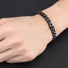 2017 New List Women Men's Stainless Steel Bracelet Fashion Link Chain 12mm 8.05'' Black(China)
