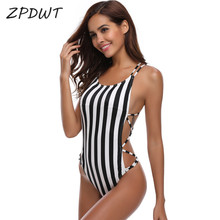 Buy ZPDWT Sexy Thong Swim Bathing Suit Striped Monokini One Piece Swimsuit Summer Bodysuit Swimwear Women Bandage Swim Beach Wear
