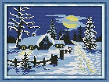 Free New cross stitching Red sun snow!DIY Needlework DMC Counted Cross Stitch Kits for Embroidery Knitting Needles Crafts